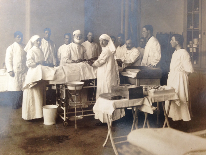 Photograph of Professor Pybus in operating theatre