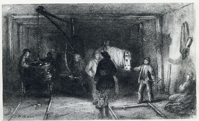 Engraving called 'Crane for Loading the Rollies', by Thomas Hair.