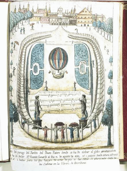 Illustration of Vincente Lunardi's balloon flight