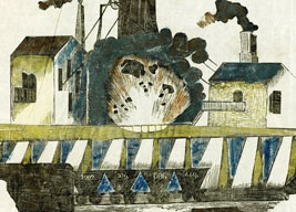 Artist's representation of the explosion at Wallsend coal mine