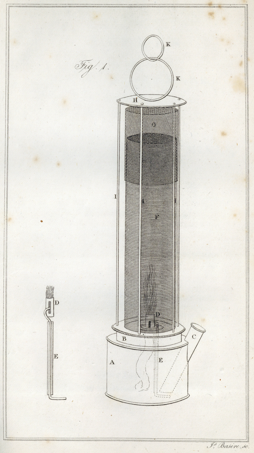 Engraving of Stephenson's miner's safety lamp