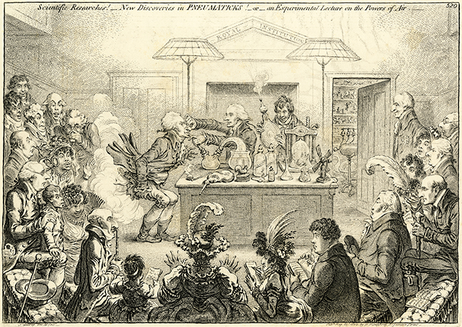 Print by Gillray called 'Scientific Researches! - New Discoveries in Pneumaticks!'